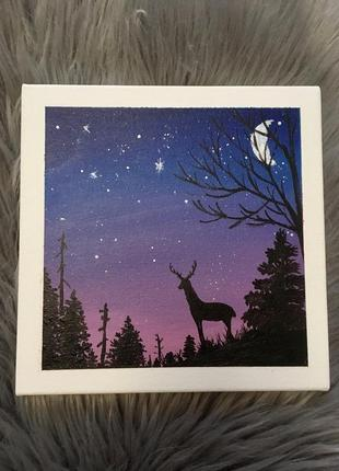 Картина на холсте «олень в ночи»