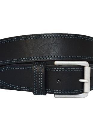 Fenix5 кожаный мужской черный ремень с синей строчкой кожанный пояс для джинсов