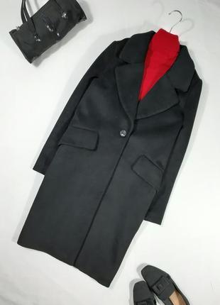Пальто черное оверсайз, шерсть, xs-m