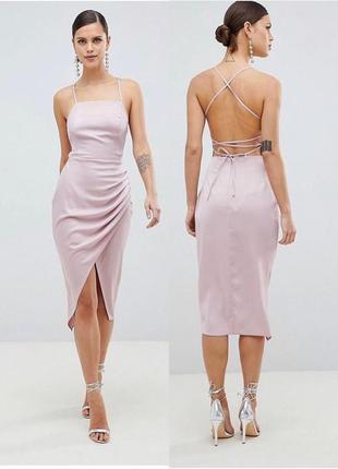Лиловое платье футляр с открытой спиной asos, вечернее платье миди со шнуровкой на спине