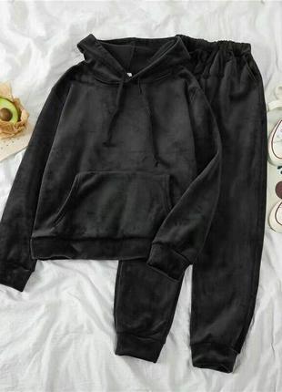 Теплый велюровый костюм на флисе 2 цвета