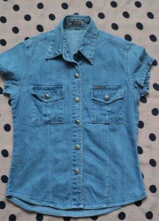 Джинсовая рубашка, рубашка из денима, рубашка на 1 сентября, в школу, в офис