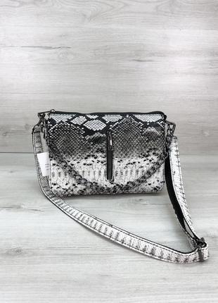 Женская сумочка кросс-боди черно-белого цвета