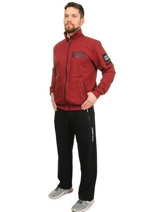Мужской демисезонный трикотажный спортивный костюм без капюшона (2092красный)
