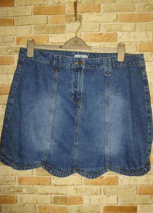 Джинсовая юбка с эффектом потертостей 16/50-52 размера