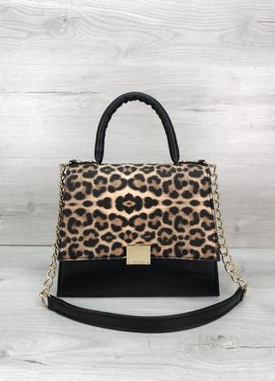 Женская сумочка на два отделения леопардового цвета