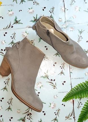 🌿1+1=3 серые кожаные полусапожки на каблуке mint velvet, натуральная кожа, 39 размер