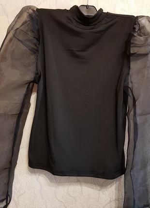 Свитер блузка с рукавом из органзы4 фото