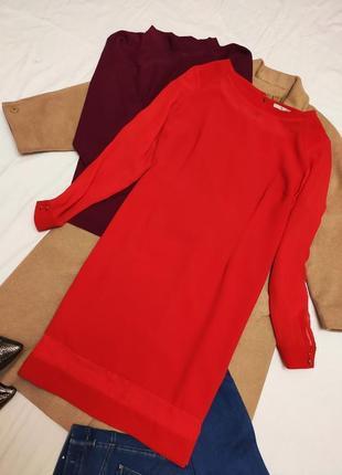 Красное алое платье батал большое нарядное с длинным рукавом сеточкой прямое свободное tu