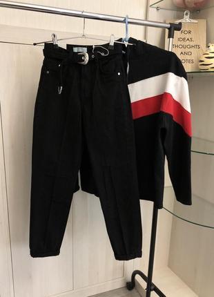 Новые черные джинсы мом mom fit xxs xs bershka