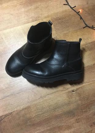 Стильные кожаные ботинки для мальчика-подростка zara 38 размер 24,5 см