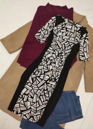 Платье комбинированное чёрное белое коричневое миди эластичное marks spenser
