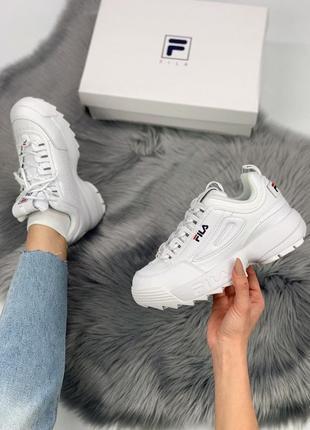 Кроссовки женские, мужские fila disruptor 2, белые (фила дисраптор, филы, обувь, кросівки)