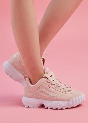 Кроссовки женские fila disruptor 2, розовые (фила дисраптор, филы, обувь, кросівки)
