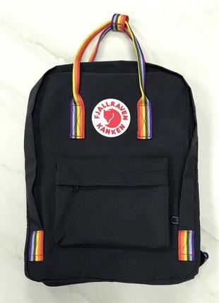 Рюкзак сумка канкен kanken fjallraven classic 16l топ качество черный rainbow