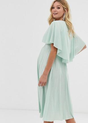 Платье мятное салатовые зелёное для беременных плиссерованное с накидкой миди асос asos