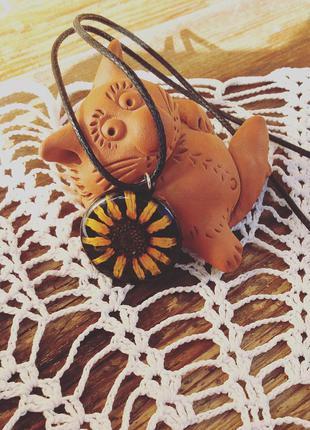 Винтажный яркий кулон на шнуре цветок желтая ромашка