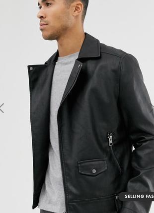 Черная байкерская куртка new look !