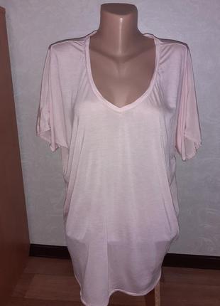 Натуральная удлиненная свободная футболка блуза лиоцелл шелк maison scotch