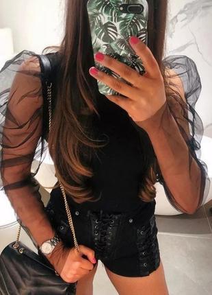 Свитер блузка с рукавом из органзы