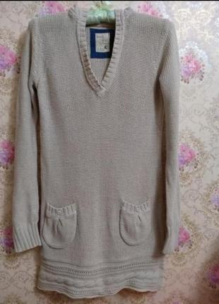 Вязанное платье / свитер с капюшоном bershka