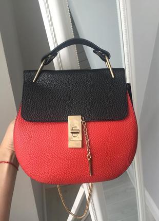 🎄🍾🎁актуальная сумка супер хлое красная черная на цепочке