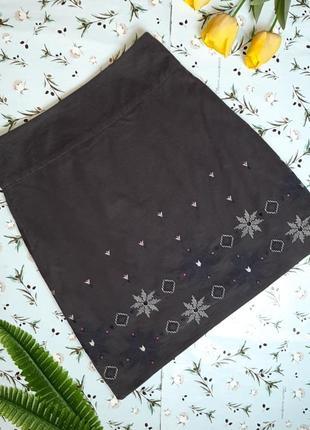 🌿1+1=3 юбка до колен микровельвет с вышивкой в этно-стиле laura ashley, размер 48 - 50
