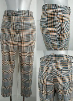 Стильные брюки h&m в клетку модного кроя с карманами