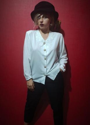 Красивейшая блуза с кружевным воротником винтаж