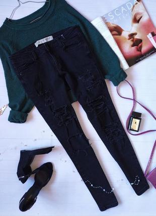 Черные рваные джинсы скинни от denim co