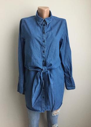 Джинсовая рубашка удлинённая