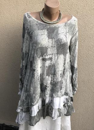 Комбинирован,трикотаж блуза бохо,этно,кофточка,туника,рюши,воланы,