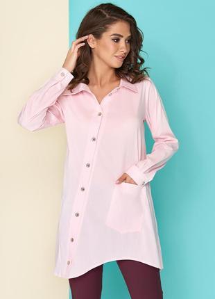 Хлопковая женская рубашка удлиненная 44-46р розовая