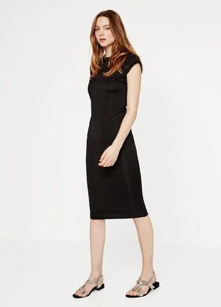 Черное элегантное платье футляр zara миди