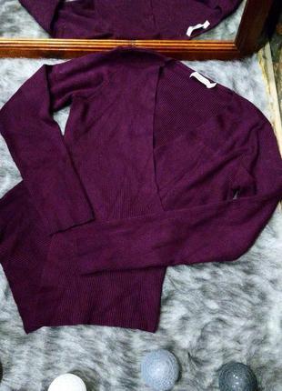 Джемпер свитер кофточка с запахом из трикотажа в рубчик m&co