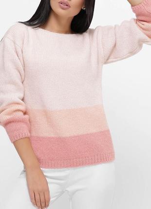 Женский вязаный трехцветный полушерстяной свитер с горловиной лодочка (7 цветов)