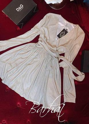 Сверкающее платье люрекс с длинным рукавом