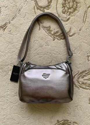 Трендовая серебристая сумочка среднего размера, новая!