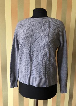 Базовый шерстяной свитер пуловер джемпер серый s-m идеал