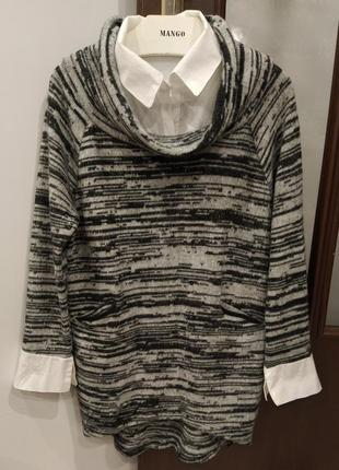 Тепле зимове плаття (туніка) вільного крою