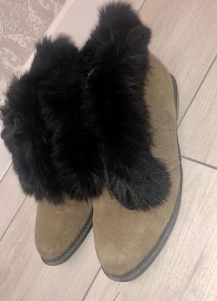 Дизайнерские замшевые ботинки, сапоги  с мехом