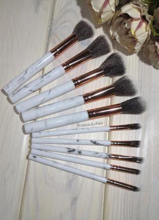 10 шт мраморные кисти для макияжа мрамор marble/grey probeauty