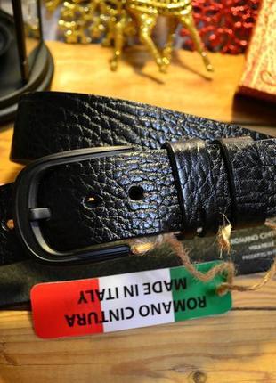 Ремень мужской кожаный черный (италия)