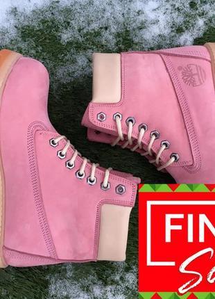 Оригинальные зимние ботинки. timberland 6-inch. розовые меховые. 28 цветов