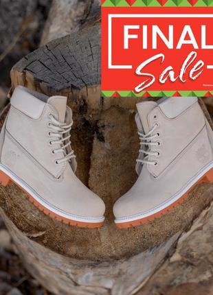 Оригинальные зимние ботинки. timberland 6-inch. светло бежевые(белые) меховые. 28 цветов