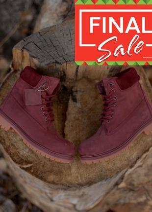 Оригинальные зимние ботинки. timberland 6-inch. полностью бордовые меховые. 28 цветов