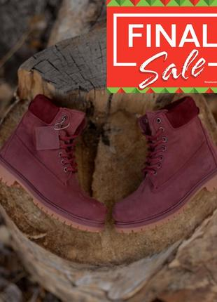 Original! классические меховые ботинки timberland 6 in premium all bordo марсала
