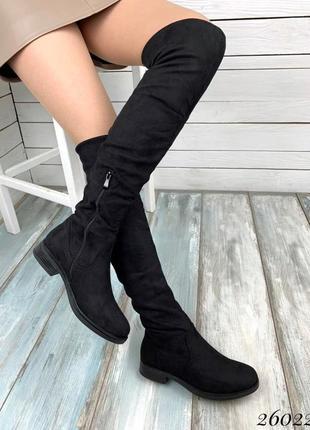 Замшевые сапоги ботфорты на низком каблуке,демисезонные сапоги чулки  чёрного цвета