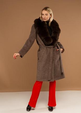 Пальто с шалевым воротником ткань шерсть италия с мехом финскогопесца под соболь