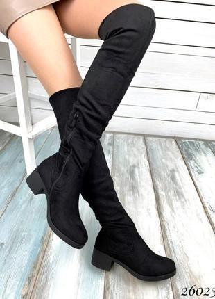 Замшевые сапоги ботфорты на среднем каблуке,высокие сапоги ботфорты чёрного цвета